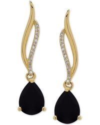 Macy's - Onyx (8 X 6mm) & Diamond Accent Drop Earrings In 14k Gold - Lyst