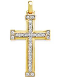Macy's - Men's Diamond Cross Pendant (3/8 Ct. T.w.) In 10k Gold - Lyst