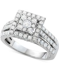 Macy's - Diamond Square Halo Cluster Engagement Ring (1-1/2 Ct. Tw.) In 14k White Gold - Lyst