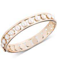 DKNY - Gold-tone Imitation Pearl Bangle Bracelet - Lyst