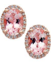 Macy's | Morganite (1-1/3 Ct. T.w.) And Diamond (1/8 Ct. T.w.) Stud Earrings In 14k Rose Gold | Lyst