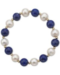 Macy's - Aquamarine (10mm) & Cultured Freshwater Pearl (9-1/2mm) Stretch Bracelet In 14k Gold (also In Lapis Lazuli) - Lyst