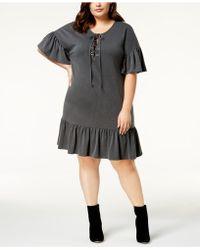 Soprano - Trendy Plus Size Lace-up Shift Dress - Lyst