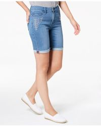 Lee Platinum - Petite Embroidered Stretch-denim Shorts - Lyst