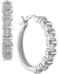 Macy's - Diamond Hoop Earrings (1/10 Ct. T.w.) In Sterling Silver - Lyst