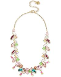 Betsey Johnson - Gold-tone Multi-crystal Necklace - Lyst