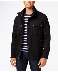 Cole Haan - Faux-leather-trim Hooded Coat - Lyst