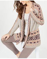 Style & Co. - Geometric Jacquard-knit Sweater Coat, Created For Macy's - Lyst
