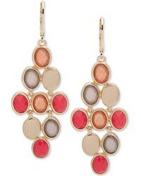 Anne Klein - Gold-tone Multi-stone Chandelier Earrings - Lyst