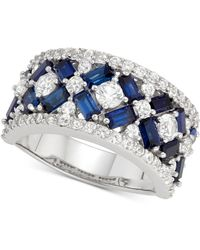 Macy's - Cubic Zirconia Simulated Sapphire Cluster Statement Ring In Sterling Silver - Lyst
