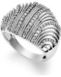 Macy's - Diamond Shell Ring In Sterling Silver (1/2 Ct. T.w.) - Lyst