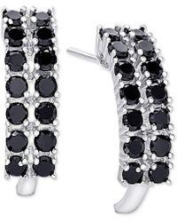 Macy's - Black Spinel Curved Hoop Earrings In Sterling Silver - Lyst