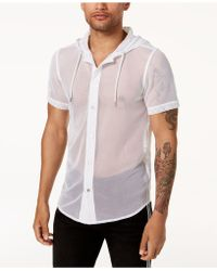 INC International Concepts - Big Mesh Hooded Shirt, Created For Macy's - Lyst