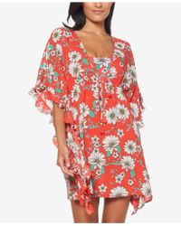Jessica Simpson - Printed Ruffle-sleeve Cover-up - Lyst