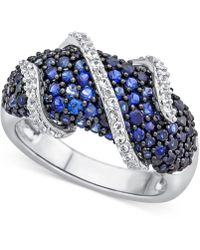 Macy's - Lab-created Blue Sapphire (2-1/3 Ct. T.w.) And White Sapphire (1/4 Ct. T.w.) Ring In Sterling Silver - Lyst