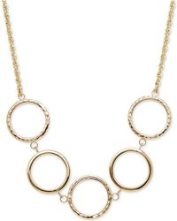 Macy's | Textured Circle Collar Necklace In 10k Gold | Lyst