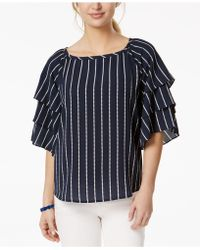 Charter Club - Petite Striped Tiered-sleeve Top, Created For Macy's - Lyst