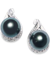 Macy's - Cultured Tahitian Black Pearl (9mm) And Diamond (1/6 Ct. T.w.) Earrings In 14k White Gold - Lyst