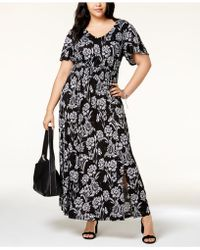 INC International Concepts - I.n.c. Plus Size Printed Flutter-sleeve Maxi Dress, Created For Macy's - Lyst