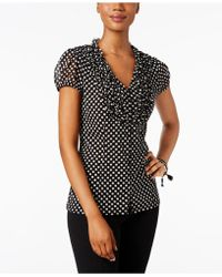 INC International Concepts - Petite Printed Ruffled Blouse, Only At Macy's - Lyst