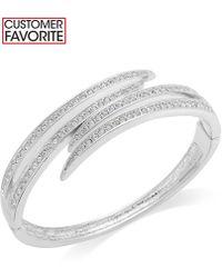 Charter Club | Silver-tone Crystal Pavè Bypass Bracelet | Lyst