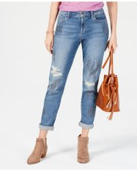 Style & Co. - Embellished Distressed Boyfriend Jeans, Created For Macy's - Lyst