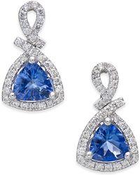 Macy's - Tanzanite (3/4 Ct. T.w.) And Diamond (1/4 Ct. T.w.) Drop Earrings In 14k White Gold - Lyst