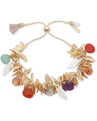 Lonna & Lilly - Gold-tone Leaf & Multicolor Bead Bolo Bracelet - Lyst