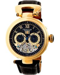 Heritor - Automatic Ganzi Gold & Black Leather Watches 44mm - Lyst