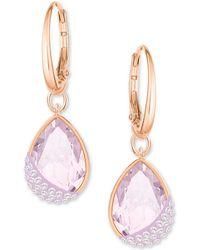 Swarovski - Rose Gold-tone Pavé & Pink Crystal Drop Earrings - Lyst