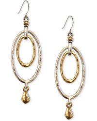 Lucky Brand - Earrings, Two-tone Oval Orbital Drop Earrings - Lyst