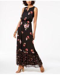 Adrianna Papell - Mixed Floral-print Blouson Maxi Dress - Lyst