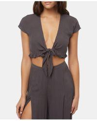 028379c2a76b7a O neill Sportswear - Juniors  Oriana Tie-front Crop Top - Lyst