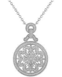 "Macy's - Diamond (3/8 Ct. T.w.) Medallion 18"" Pendant Necklace In Sterling Silver - Lyst"