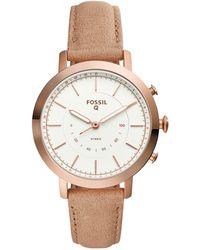 Fossil - Women's Neely Nude Leather Strap Hybrid Smart Watch 36mm - Lyst
