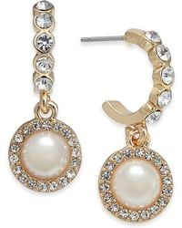 Charter Club - Gold-tone Crystal & Imitation Pearl Hoop Earrings, Created For Macy's - Lyst