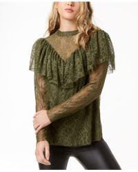 Kensie - Ruffled Lace Top - Lyst