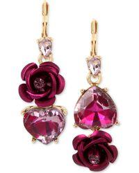 Betsey Johnson   Two-tone Pink Crystal Heart & Flower Mismatch Earrings   Lyst
