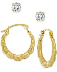 Macy's - Cubic Zirconia And Ribbed Hoop Earring Set In 10k Gold - Lyst