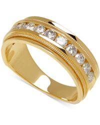 Macy's - Men's Diamond Milgrain Band (1 Ct. T.w.) In 14k Gold - Lyst