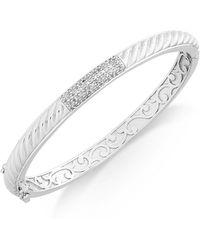 Macy's - Diamond Pavé Bar Twist Bangle Bracelet (1/3 Ct. T.w.) In Sterling Silver - Lyst