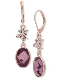 Lonna & Lilly - Rose Gold-tone Stone & Crystal Drop Earrings - Lyst