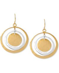 Robert Lee Morris - Earrings, Two-tone Hammered Circle Orbital Earrings - Lyst