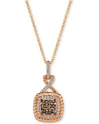 """Le Vian - Chocolatier® Diamond Cluster Rope-look 18"""" Pendant Necklace (3/8 Ct. T.w.) In 14k Rose Gold - Lyst"""