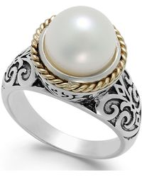 Macy's | Cultured Freshwater Pearl Scroll Ring In 14k Gold And Sterling Silver (10mm) | Lyst