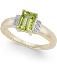 Macy's | Peridot (1 Ct. T.w.) & Diamond Accent Ring In 14k Gold | Lyst
