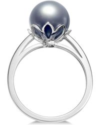 Macy's - Cultured Tahitian Black Pearl (10mm) Ring In 14k White Gold - Lyst