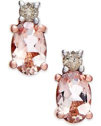 Macy's - Morganite (9/10 Ct. T.w.) And Diamond (1/10 Ct. T.w.) Drop Earrings In 14k Rose Gold - Lyst