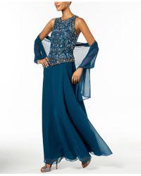 J Kara   Handbeaded Gown & Shawl   Lyst