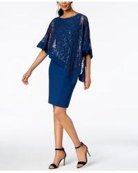 R & M Richards - Sequined Cape Sheath Dress - Lyst